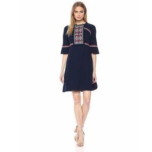 Ella Moon 3/4 Juliette Sleeve Dress Navy/Coral